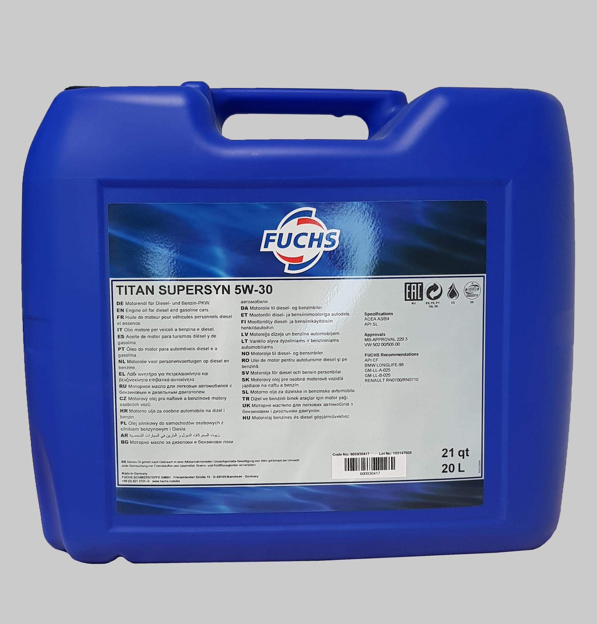 Fuchs Titan Supersyn 5W-30 20 Liter