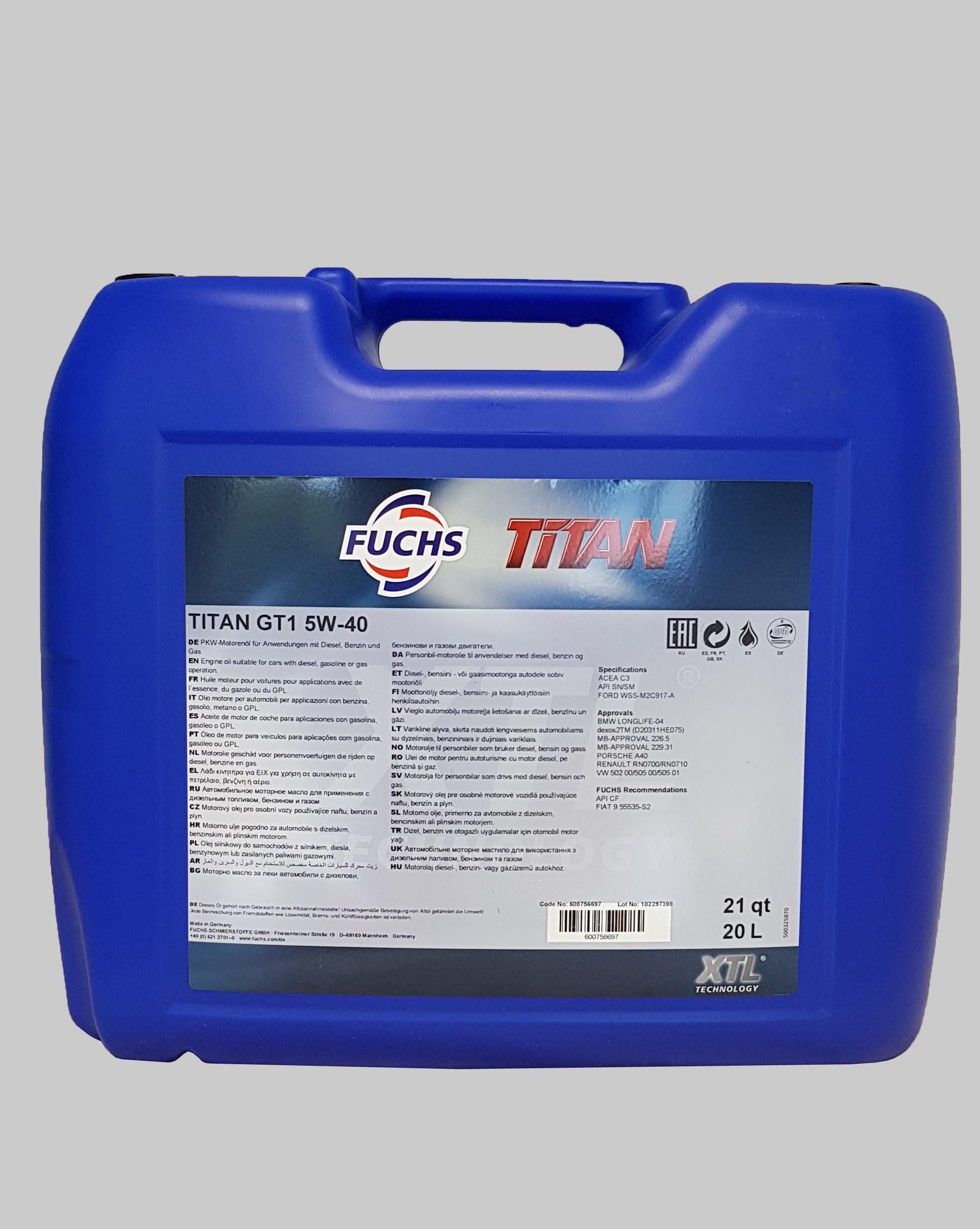 Fuchs Titan GT1 5W-40 20 Liter